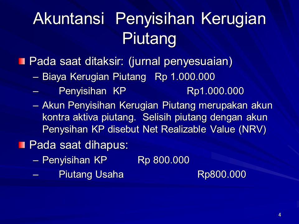5 Debitur yang dihapus membayar: –Piutang Usaha Rp 600.000 – Penyisihan KP Rp 600.000 –Kas Rp 600.000 – Piutang Usaha Rp 600.000