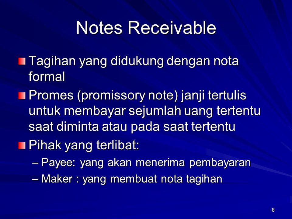 8 Notes Receivable Tagihan yang didukung dengan nota formal Promes (promissory note) janji tertulis untuk membayar sejumlah uang tertentu saat diminta