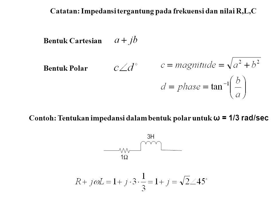 Contoh: Tentukan impedansi dalam bentuk polar untuk ω = 1/3 rad/sec Catatan: Impedansi tergantung pada frekuensi dan nilai R,L,C Bentuk Cartesian Bent