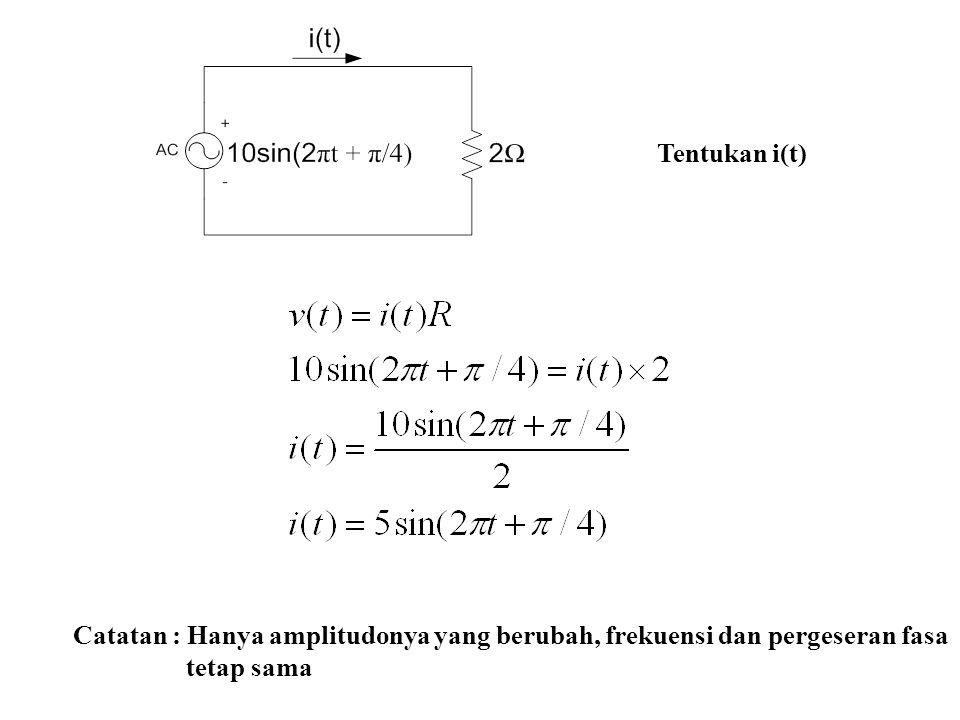Tentukan i(t) Catatan : Hanya amplitudonya yang berubah, frekuensi dan pergeseran fasa tetap sama