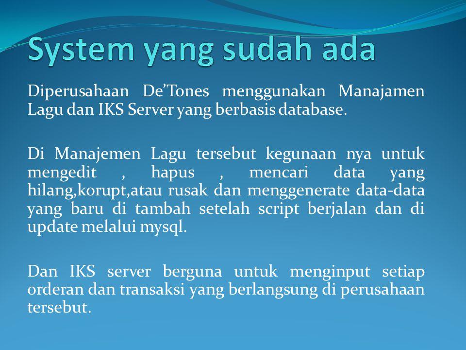 Diperusahaan De'Tones menggunakan Manajamen Lagu dan IKS Server yang berbasis database. Di Manajemen Lagu tersebut kegunaan nya untuk mengedit, hapus,