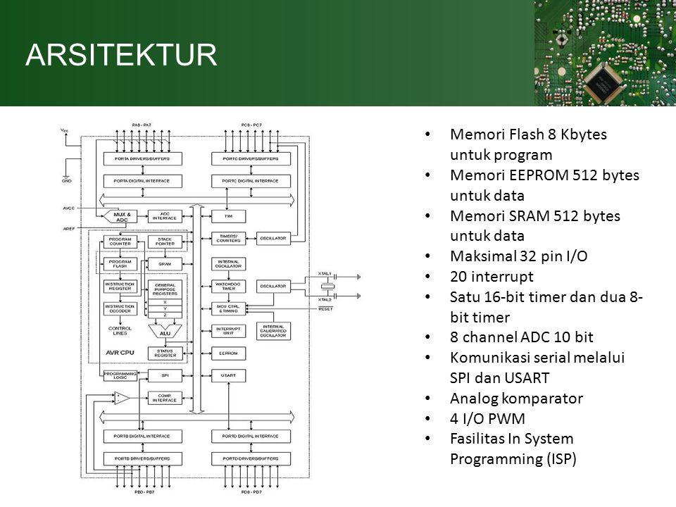 ARSITEKTUR Memori Flash 8 Kbytes untuk program Memori EEPROM 512 bytes untuk data Memori SRAM 512 bytes untuk data Maksimal 32 pin I/O 20 interrupt Satu 16-bit timer dan dua 8- bit timer 8 channel ADC 10 bit Komunikasi serial melalui SPI dan USART Analog komparator 4 I/O PWM Fasilitas In System Programming (ISP)