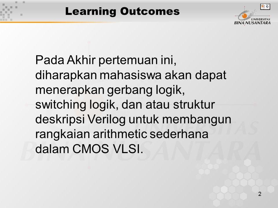 2 Learning Outcomes Pada Akhir pertemuan ini, diharapkan mahasiswa akan dapat menerapkan gerbang logik, switching logik, dan atau struktur deskripsi V