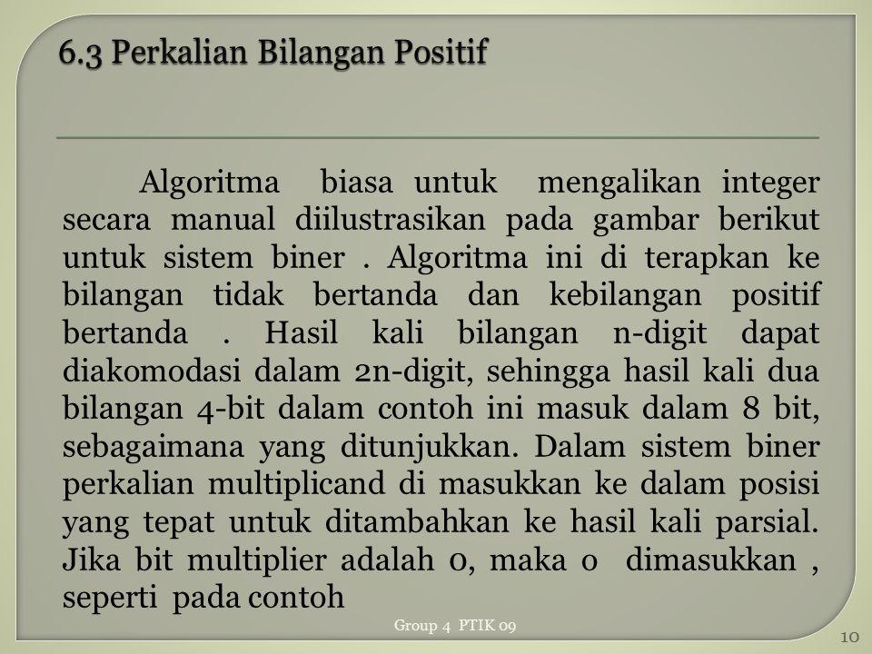 Algoritma biasa untuk mengalikan integer secara manual diilustrasikan pada gambar berikut untuk sistem biner. Algoritma ini di terapkan ke bilangan ti