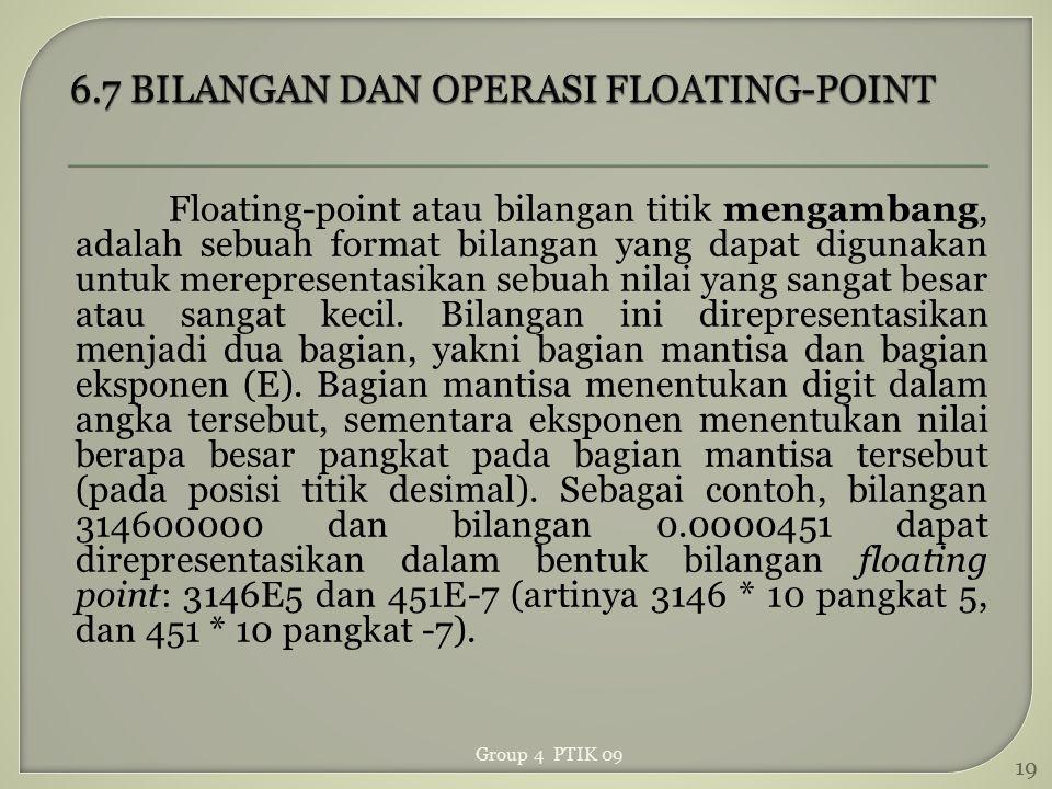 Floating-point atau bilangan titik mengambang, adalah sebuah format bilangan yang dapat digunakan untuk merepresentasikan sebuah nilai yang sangat bes