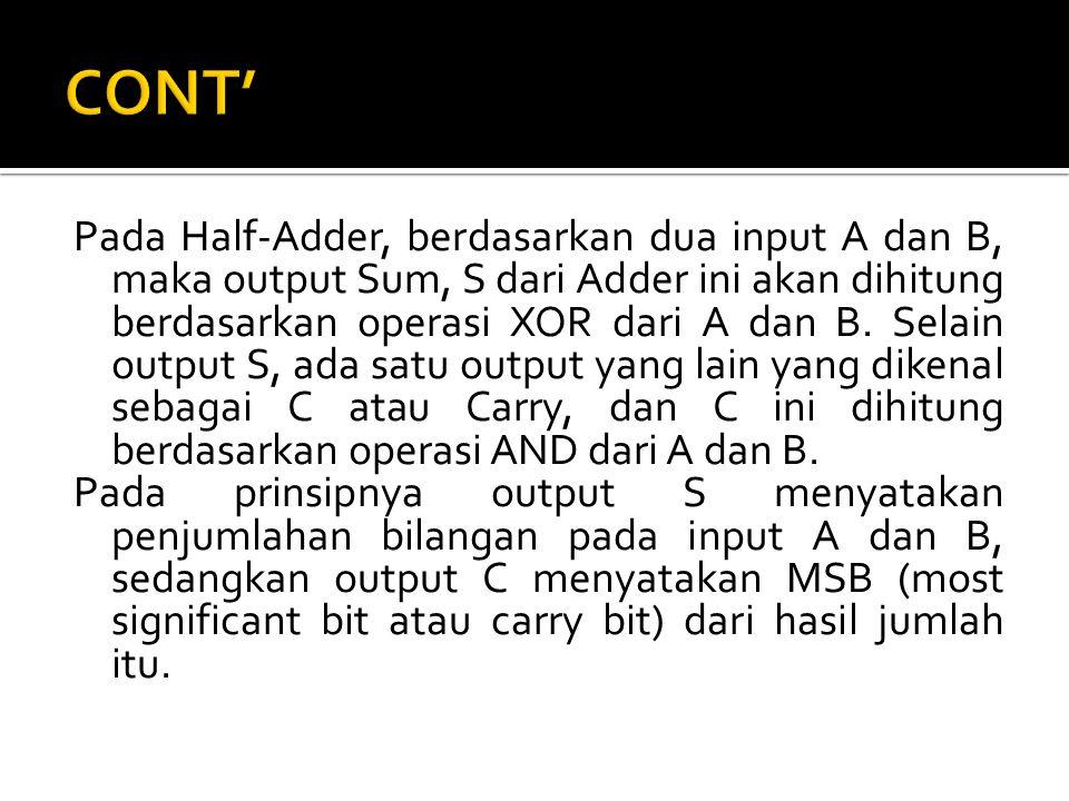Pada Half-Adder, berdasarkan dua input A dan B, maka output Sum, S dari Adder ini akan dihitung berdasarkan operasi XOR dari A dan B. Selain output S,