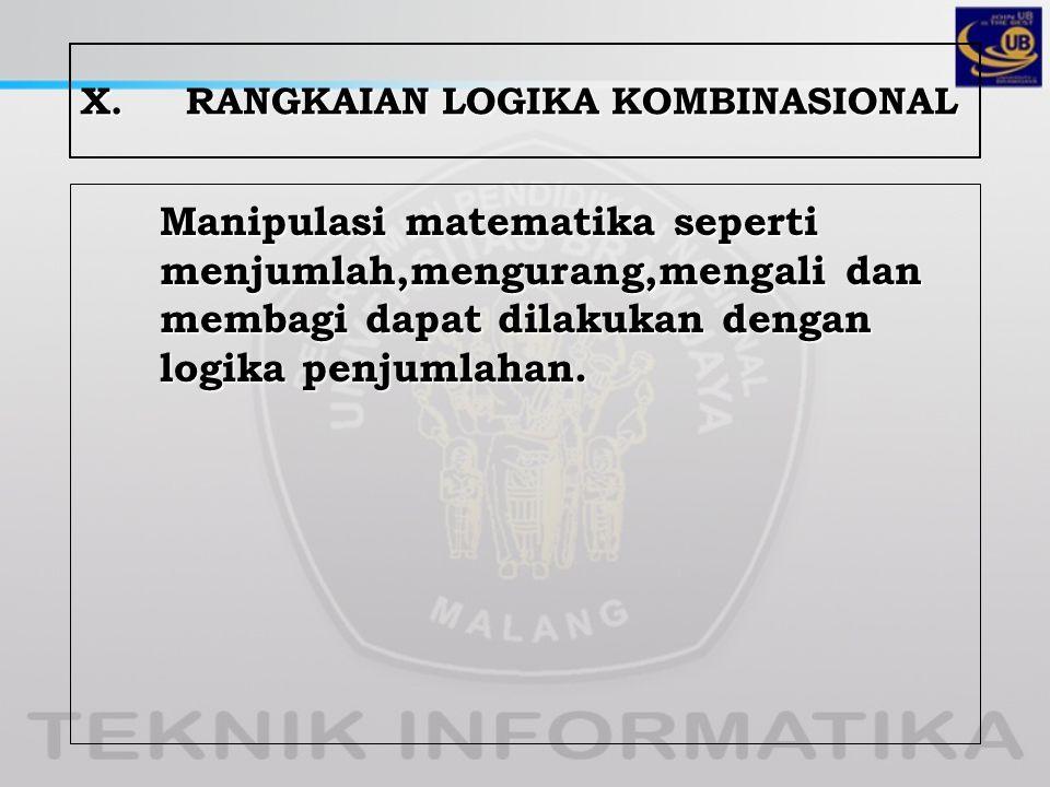 X.RANGKAIAN LOGIKA KOMBINASIONAL Manipulasi matematika seperti menjumlah,mengurang,mengali dan membagi dapat dilakukan dengan logika penjumlahan.