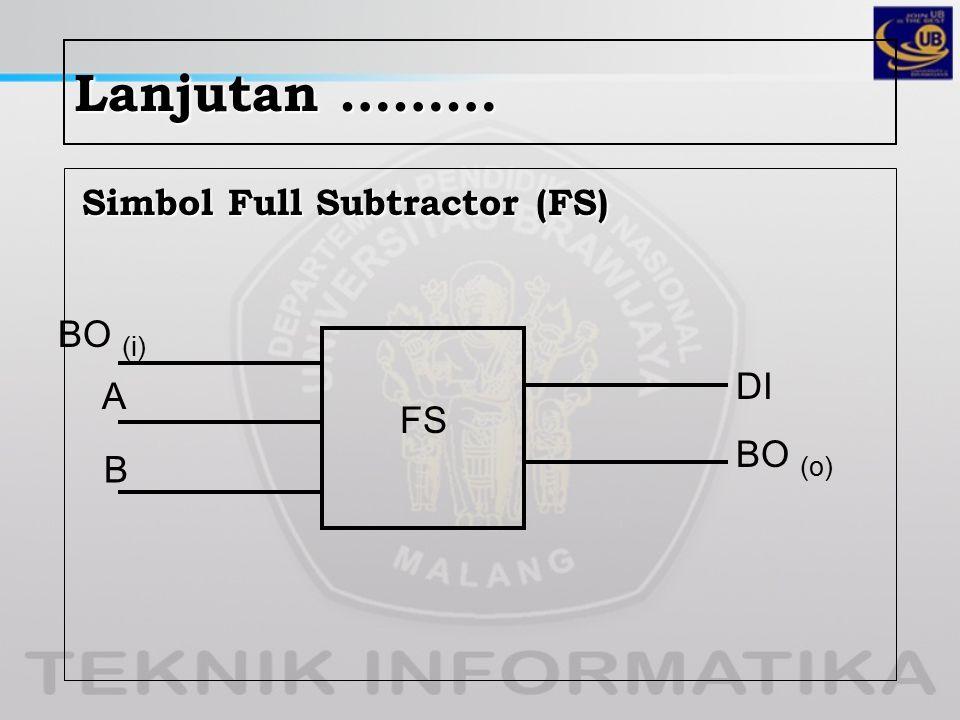 Lanjutan ……… Simbol Full Subtractor (FS) FS BO (i) A B DI BO (o)