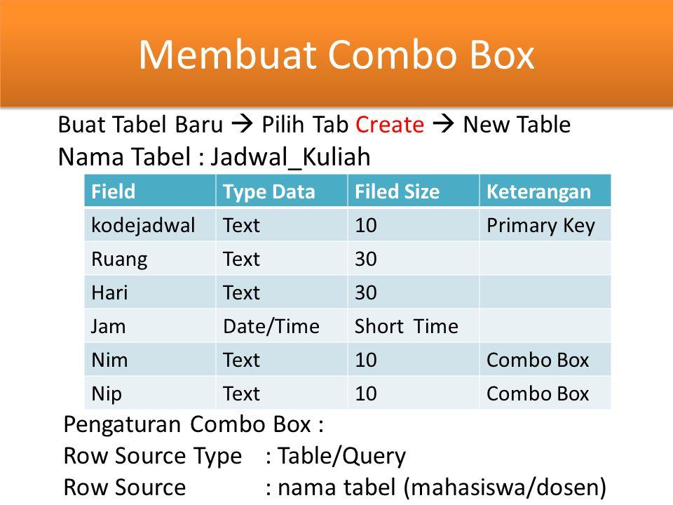 Membuat Combo Box Buat Tabel Baru  Pilih Tab Create  New Table Nama Tabel : Jadwal_Kuliah FieldType DataFiled SizeKeterangan kodejadwalText10Primary