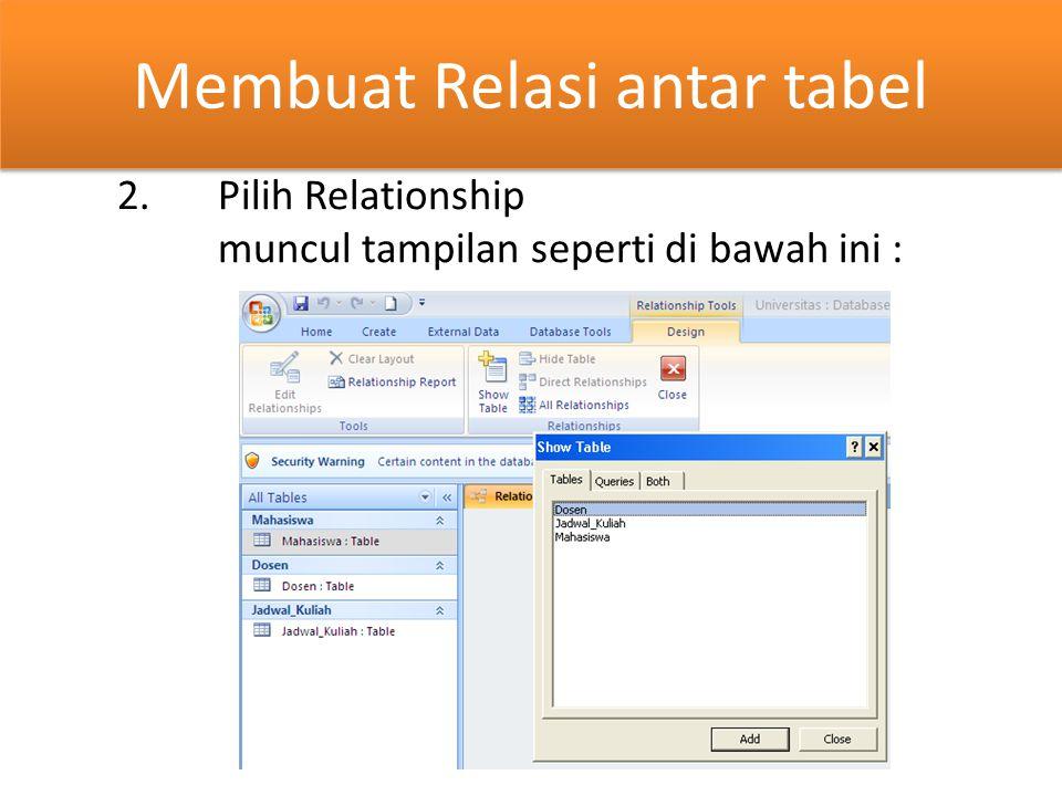 Membuat Relasi antar tabel 2.Pilih Relationship muncul tampilan seperti di bawah ini :