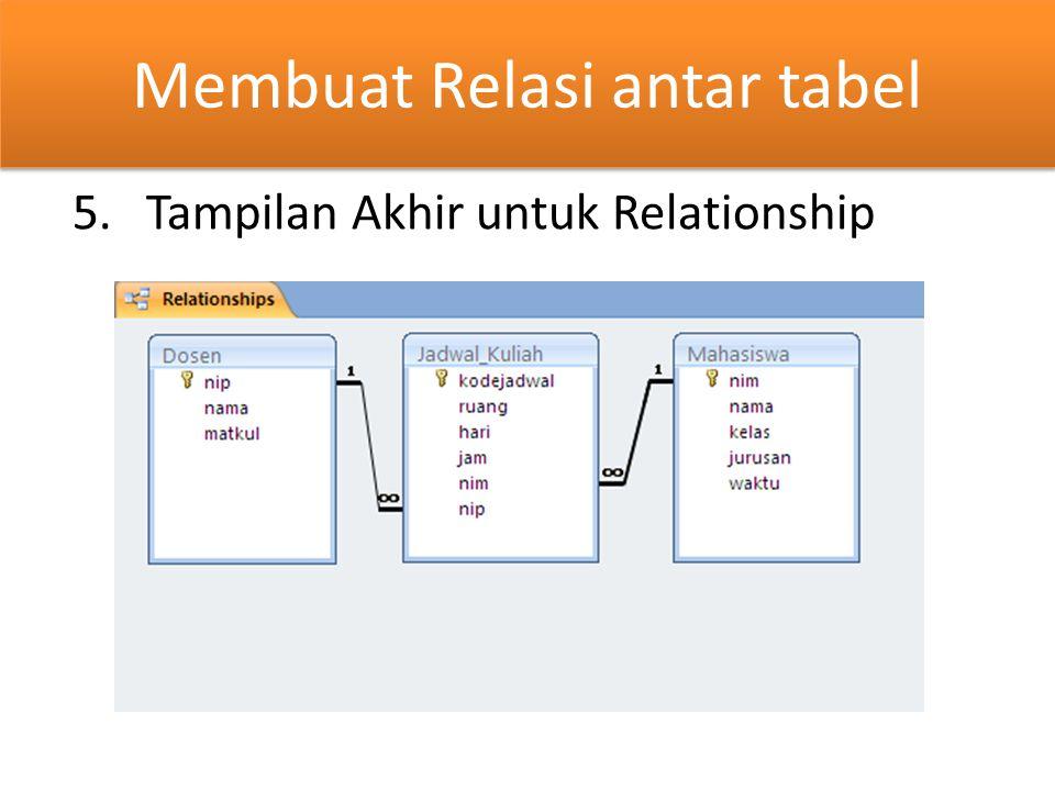 Membuat Relasi antar tabel 5.Tampilan Akhir untuk Relationship