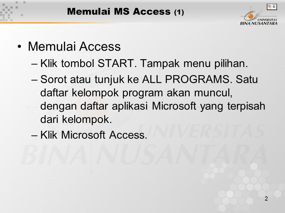 2 Memulai MS Access (1) Memulai Access –Klik tombol START. Tampak menu pilihan. –Sorot atau tunjuk ke ALL PROGRAMS. Satu daftar kelompok program akan