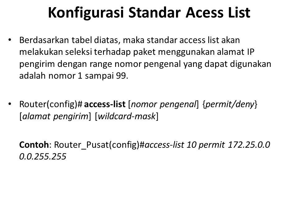 Konfigurasi Standar Acess List Berdasarkan tabel diatas, maka standar access list akan melakukan seleksi terhadap paket menggunakan alamat IP pengirim dengan range nomor pengenal yang dapat digunakan adalah nomor 1 sampai 99.