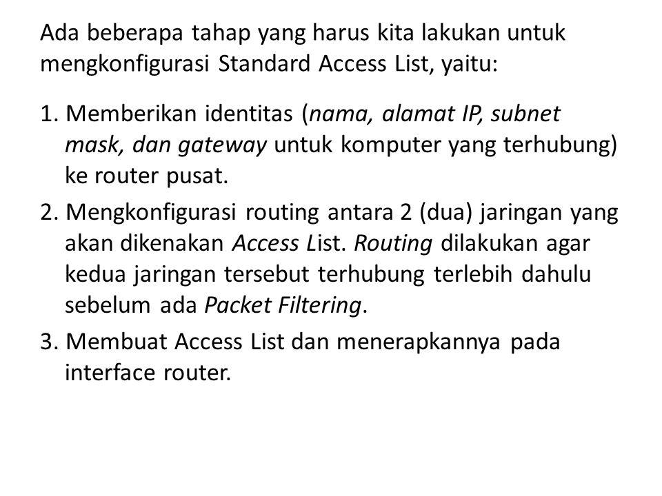 Ada beberapa tahap yang harus kita lakukan untuk mengkonfigurasi Standard Access List, yaitu: 1.