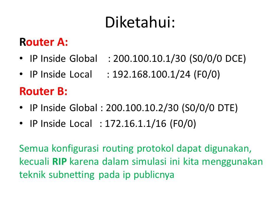 Diketahui: Router A: IP Inside Global : 200.100.10.1/30 (S0/0/0 DCE) IP Inside Local : 192.168.100.1/24 (F0/0) Router B: IP Inside Global : 200.100.10.2/30 (S0/0/0 DTE) IP Inside Local : 172.16.1.1/16 (F0/0) Semua konfigurasi routing protokol dapat digunakan, kecuali RIP karena dalam simulasi ini kita menggunakan teknik subnetting pada ip publicnya