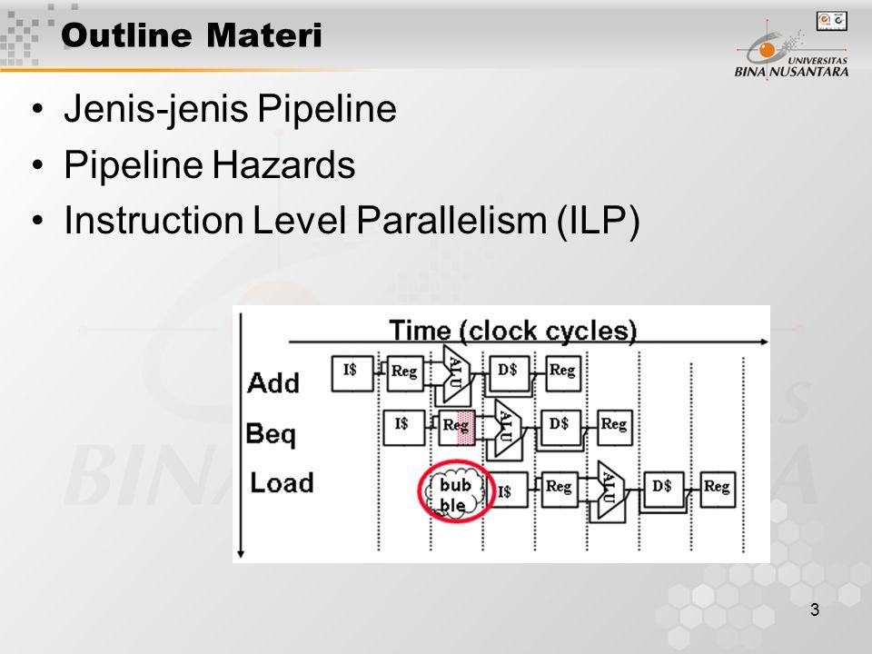14 Instruction Level Parallelism (ILP) Instruction level parallelism (ILP) adalah family dari teknik desain prosesor dan kompiler yang mempercepat eksekusi dengan menyebabkan operasi mesin secara individual, seperti load memori dan menyimpan memori, operasi integer dan floting point, untuk dieksekusikan secara parallel.
