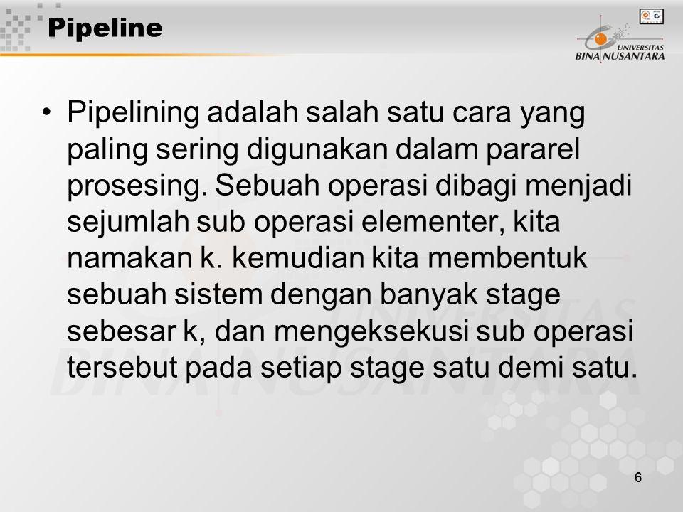 6 Pipeline Pipelining adalah salah satu cara yang paling sering digunakan dalam pararel prosesing. Sebuah operasi dibagi menjadi sejumlah sub operasi