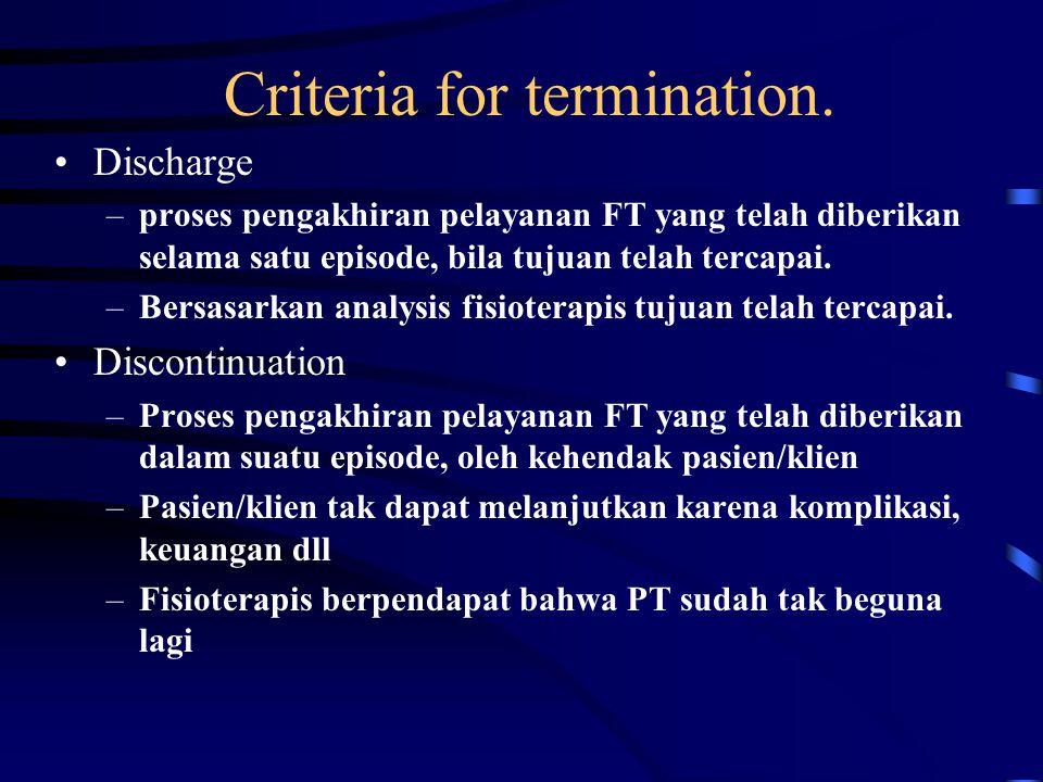 Criteria for termination. Discharge –proses pengakhiran pelayanan FT yang telah diberikan selama satu episode, bila tujuan telah tercapai. –Bersasarka