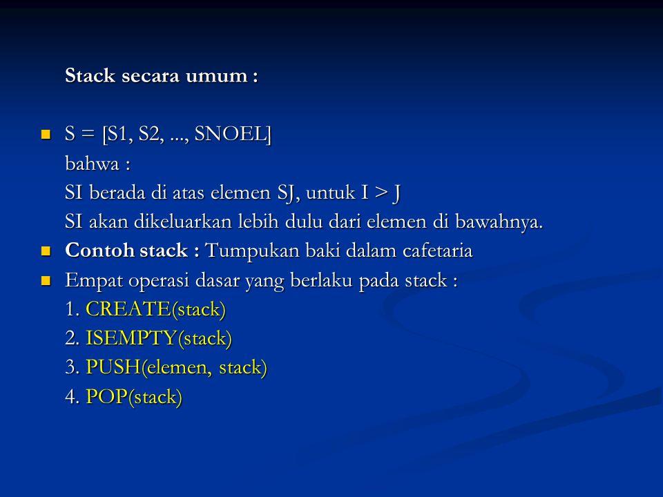 Stack secara umum : S = [S1, S2,..., SNOEL] S = [S1, S2,..., SNOEL] bahwa : SI berada di atas elemen SJ, untuk I > J SI akan dikeluarkan lebih dulu da