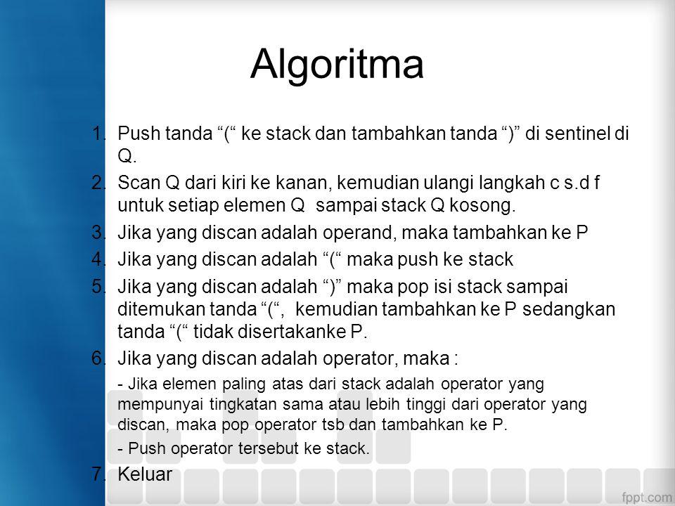 """Algoritma 1.Push tanda """"("""" ke stack dan tambahkan tanda """")"""" di sentinel di Q. 2.Scan Q dari kiri ke kanan, kemudian ulangi langkah c s.d f untuk setia"""