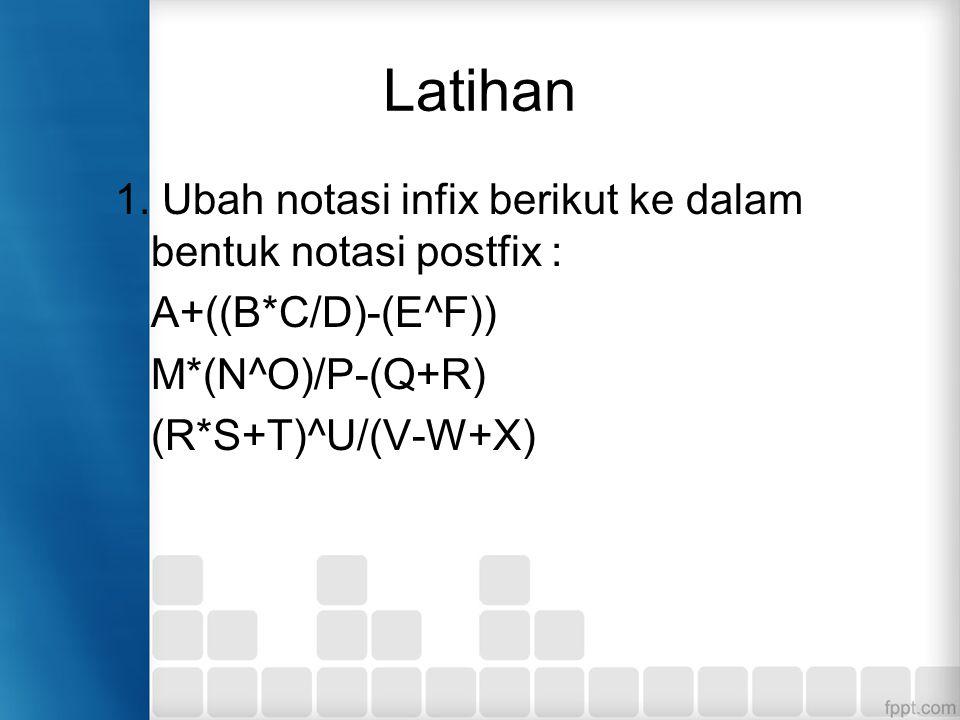 Latihan 1. Ubah notasi infix berikut ke dalam bentuk notasi postfix : A+((B*C/D)-(E^F)) M*(N^O)/P-(Q+R) (R*S+T)^U/(V-W+X)