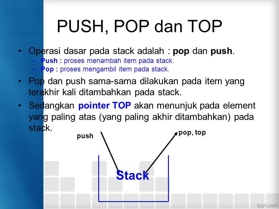 PUSH, POP dan TOP Operasi dasar pada stack adalah : pop dan push. –Push : proses menambah item pada stack. –Pop : proses mengambil item pada stack. Po