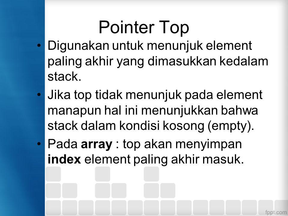 Pointer Top Digunakan untuk menunjuk element paling akhir yang dimasukkan kedalam stack. Jika top tidak menunjuk pada element manapun hal ini menunjuk