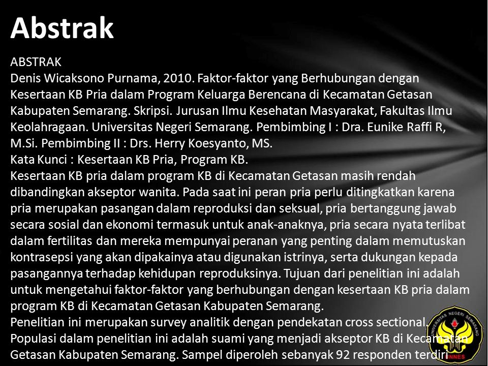 Abstrak ABSTRAK Denis Wicaksono Purnama, 2010.