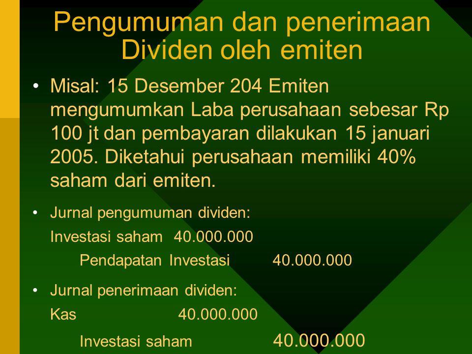 Pengumuman dan penerimaan Dividen oleh emiten Misal: 15 Desember 204 Emiten mengumumkan Laba perusahaan sebesar Rp 100 jt dan pembayaran dilakukan 15