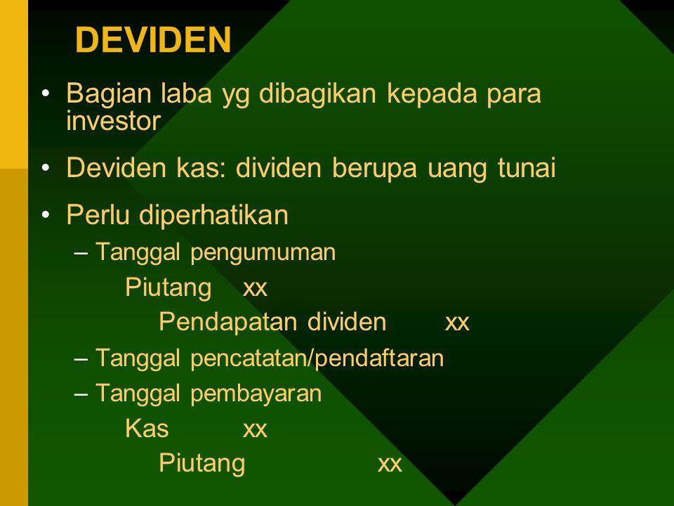 DEVIDEN Bagian laba yg dibagikan kepada para investor Deviden kas: dividen berupa uang tunai Perlu diperhatikan –Tanggal pengumuman Piutangxx Pendapat