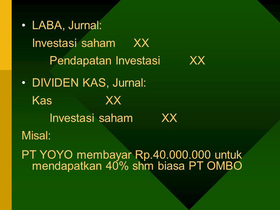 Jurnal: Investasi shm PT OMBO Rp.40.000.000 KasRp.40.000.000 PENJUALAN INVESTASI SAHAM Selisih nilai penjualan & nilai buku Investasi diakui sbg LABA/RUGI Jurnal:LABA: KasXX Investasi saham XX Laba penjualan inv saham XX