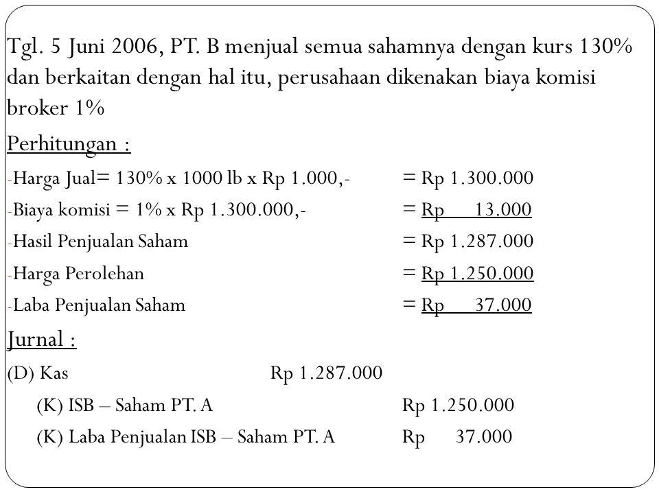 Tgl. 5 Juni 2006, PT. B menjual semua sahamnya dengan kurs 130% dan berkaitan dengan hal itu, perusahaan dikenakan biaya komisi broker 1% Perhitungan