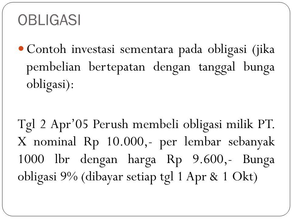 OBLIGASI Contoh investasi sementara pada obligasi (jika pembelian bertepatan dengan tanggal bunga obligasi): Tgl 2 Apr'05 Perush membeli obligasi mili