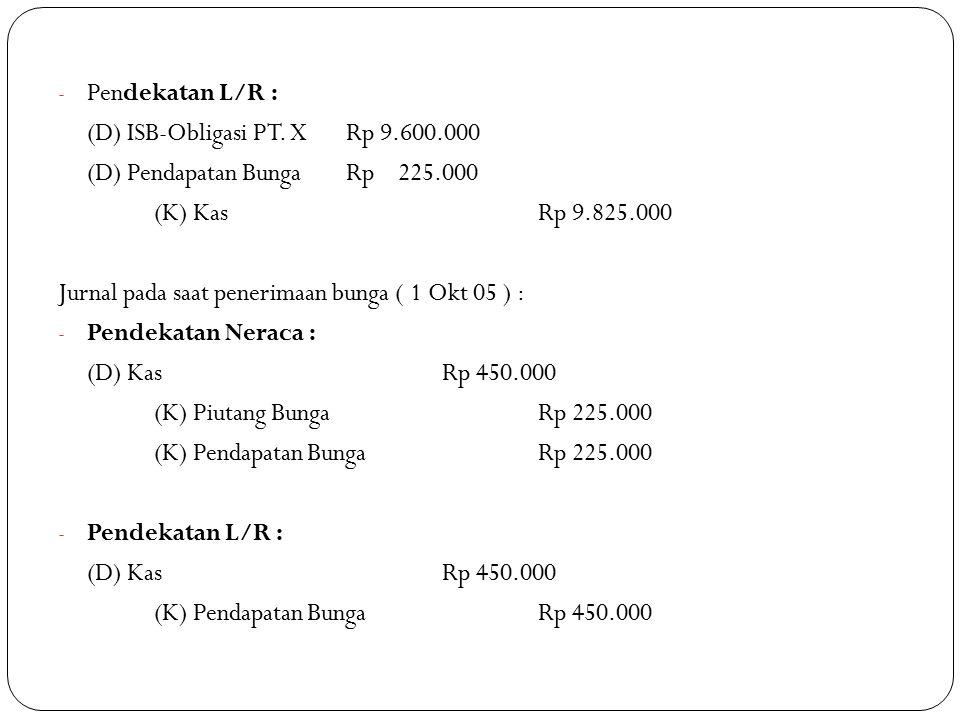 - Pendekatan L/R : (D) ISB-Obligasi PT. XRp 9.600.000 (D) Pendapatan BungaRp 225.000 (K) KasRp 9.825.000 Jurnal pada saat penerimaan bunga ( 1 Okt 05