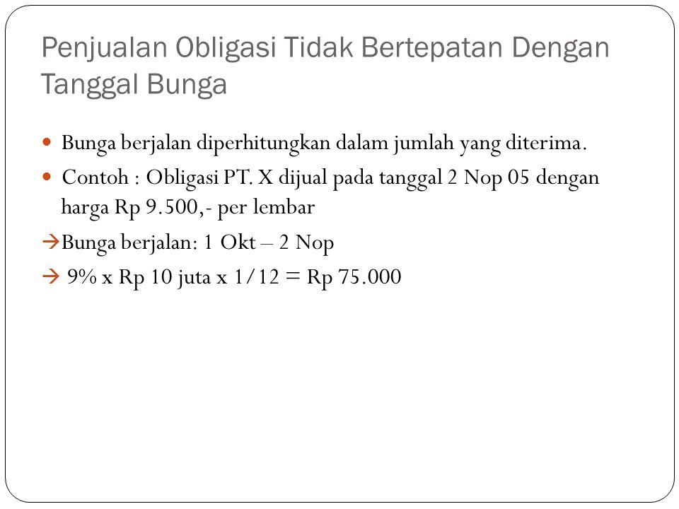 Penjualan Obligasi Tidak Bertepatan Dengan Tanggal Bunga Bunga berjalan diperhitungkan dalam jumlah yang diterima. Contoh : Obligasi PT. X dijual pada