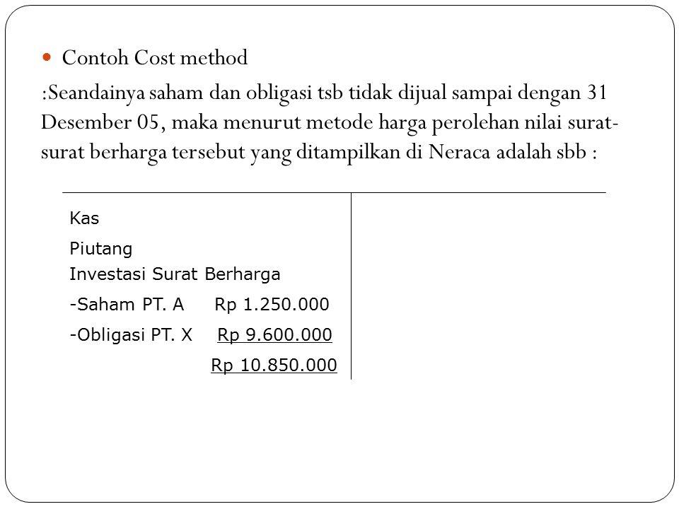 Contoh Cost method :Seandainya saham dan obligasi tsb tidak dijual sampai dengan 31 Desember 05, maka menurut metode harga perolehan nilai surat- sura