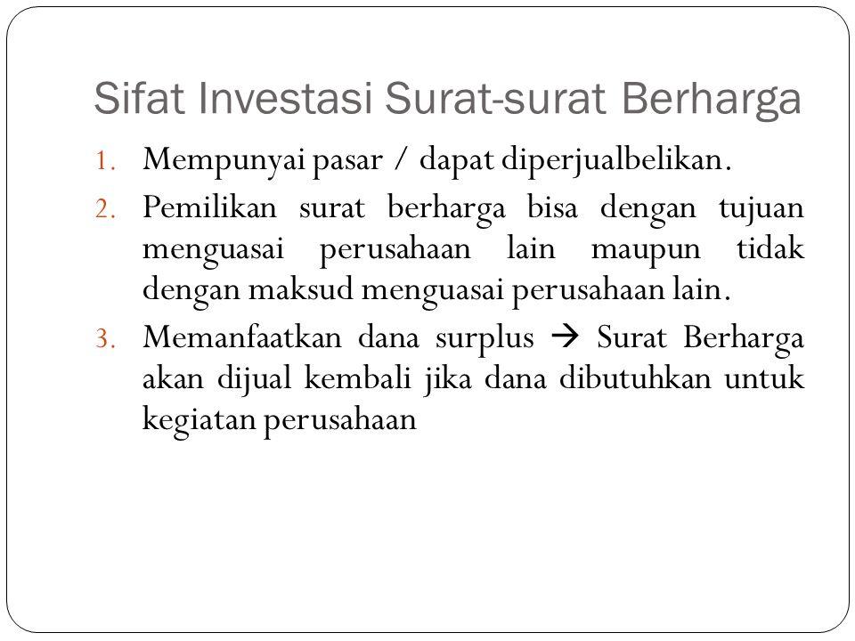 Sifat Investasi Surat-surat Berharga 1. Mempunyai pasar / dapat diperjualbelikan. 2. Pemilikan surat berharga bisa dengan tujuan menguasai perusahaan