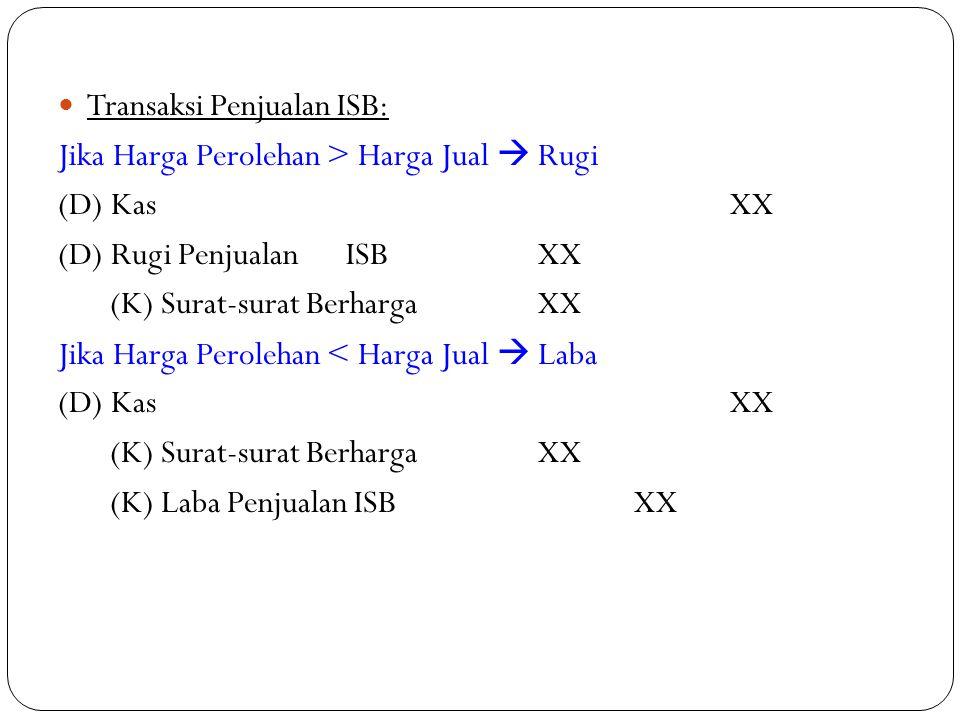 Transaksi Penjualan ISB: Jika Harga Perolehan > Harga Jual  Rugi (D) KasXX (D) Rugi PenjualanISBXX (K) Surat-surat BerhargaXX Jika Harga Perolehan <