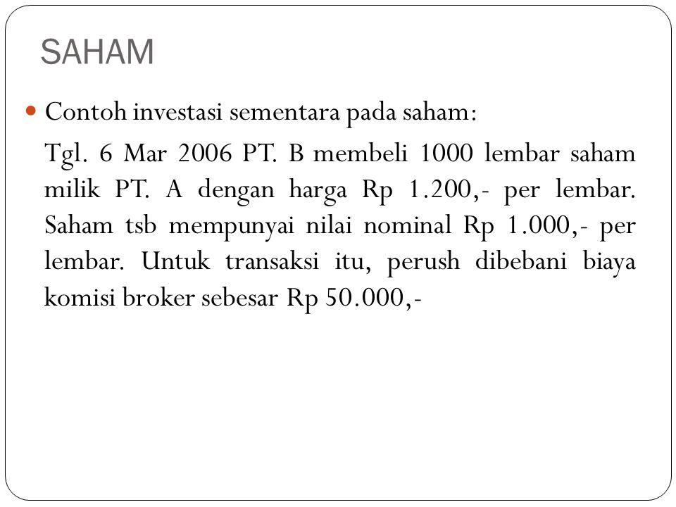 SAHAM Contoh investasi sementara pada saham: Tgl. 6 Mar 2006 PT. B membeli 1000 lembar saham milik PT. A dengan harga Rp 1.200,- per lembar. Saham tsb