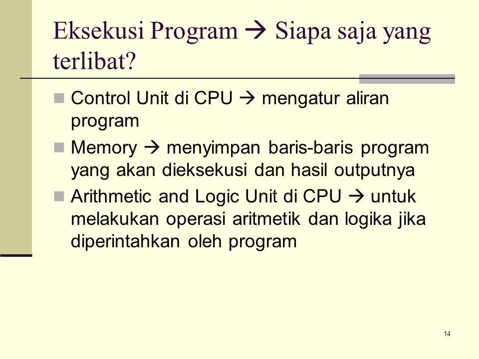 14 Eksekusi Program  Siapa saja yang terlibat? Control Unit di CPU  mengatur aliran program Memory  menyimpan baris-baris program yang akan dieksek