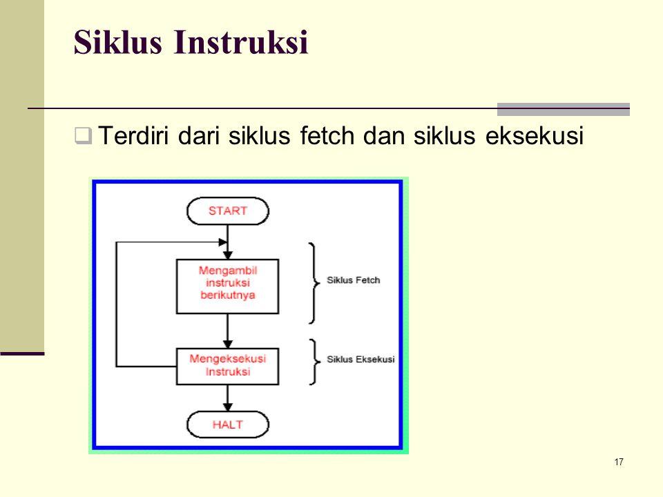17 Siklus Instruksi  Terdiri dari siklus fetch dan siklus eksekusi