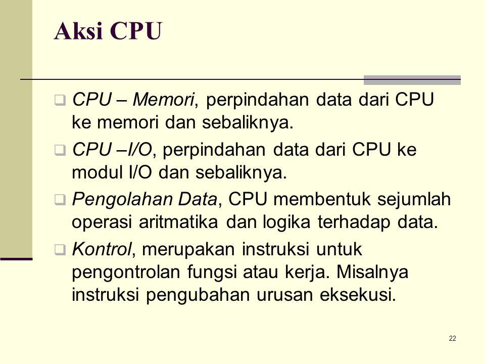 22 Aksi CPU  CPU – Memori, perpindahan data dari CPU ke memori dan sebaliknya.  CPU –I/O, perpindahan data dari CPU ke modul I/O dan sebaliknya.  P