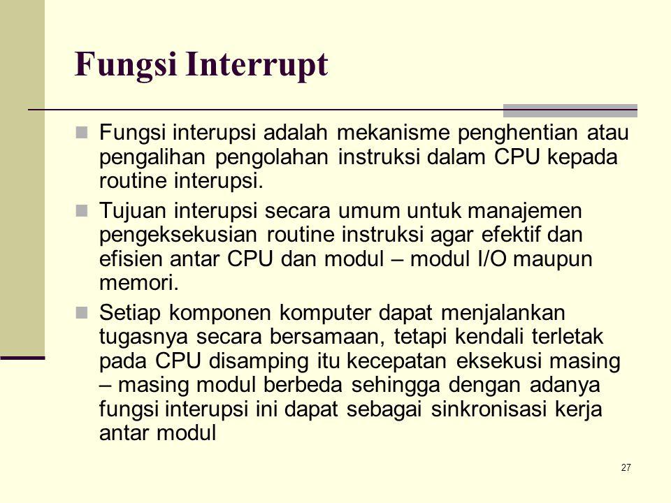 27 Fungsi Interrupt Fungsi interupsi adalah mekanisme penghentian atau pengalihan pengolahan instruksi dalam CPU kepada routine interupsi. Tujuan inte