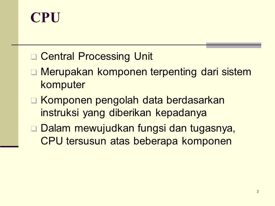 3 CPU  Central Processing Unit  Merupakan komponen terpenting dari sistem komputer  Komponen pengolah data berdasarkan instruksi yang diberikan kep