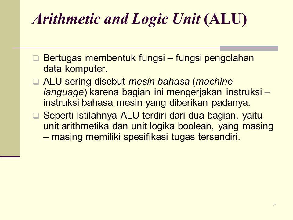 5 Arithmetic and Logic Unit (ALU)  Bertugas membentuk fungsi – fungsi pengolahan data komputer.  ALU sering disebut mesin bahasa (machine language)
