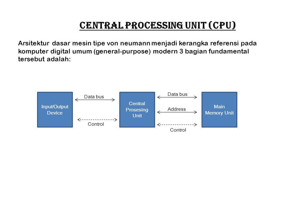Organisasi CPU A+B A B AB ALU A+B Register ALU Input Register ALU Input Bus ALU Output Register Gambar diatas disebut jalur data dan berisi register-register (terutama 1 sampai 32), ALU (Arithmetic Logic Unit) dan beberapa bus yang menghubungkan bagian-bagian tersebut.