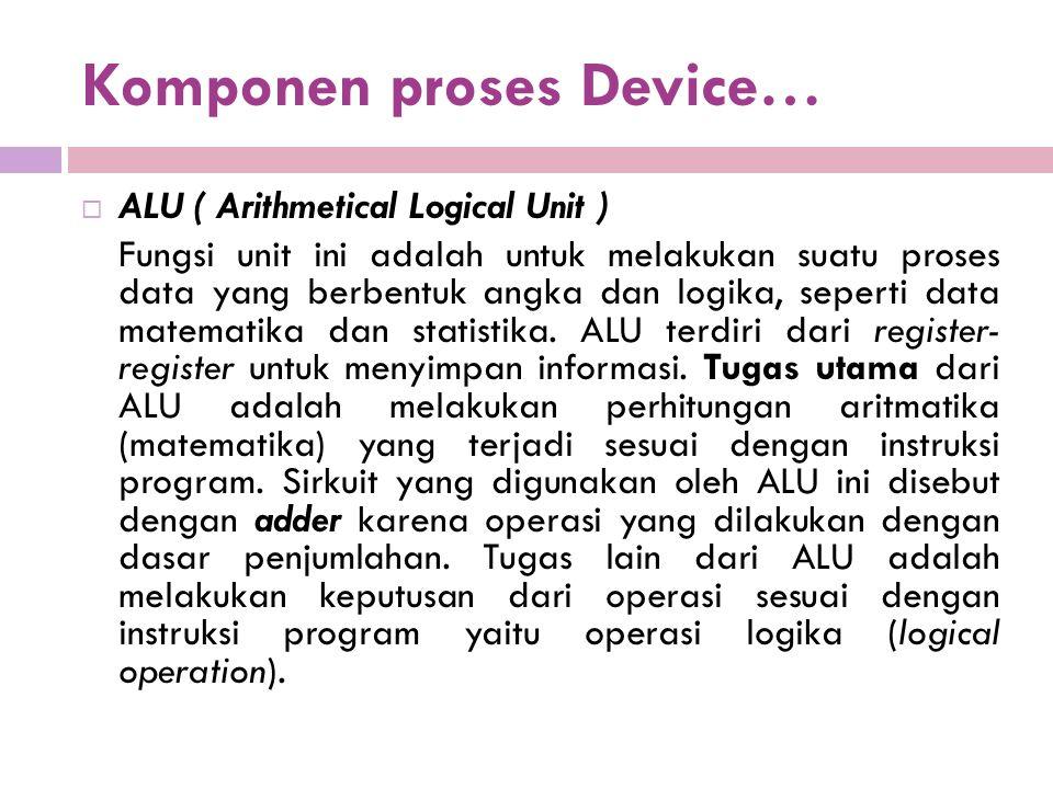 Komponen proses Device…  ALU ( Arithmetical Logical Unit ) Fungsi unit ini adalah untuk melakukan suatu proses data yang berbentuk angka dan logika, seperti data matematika dan statistika.
