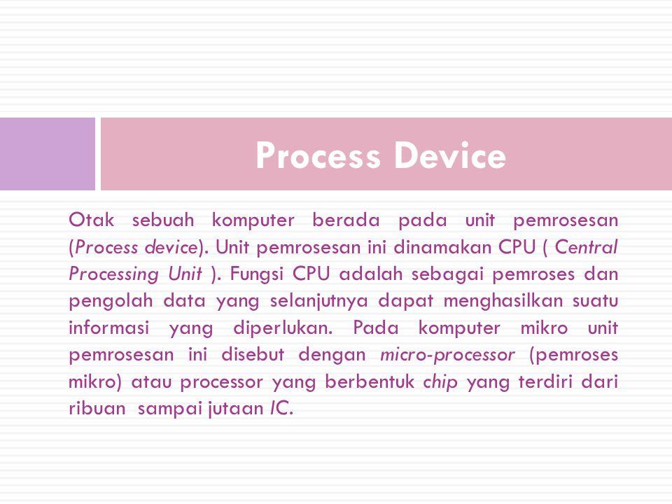 Otak sebuah komputer berada pada unit pemrosesan (Process device).