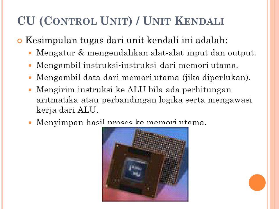 CU (C ONTROL U NIT ) / U NIT K ENDALI Kesimpulan tugas dari unit kendali ini adalah: Mengatur & mengendalikan alat-alat input dan output. Mengambil in