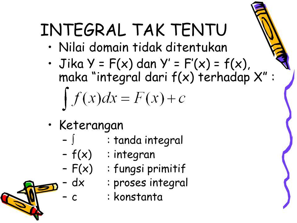 """INTEGRAL TAK TENTU Nilai domain tidak ditentukan Jika Y = F(x) dan Y' = F'(x) = f(x), maka """"integral dari f(x) terhadap X"""" : Keterangan –  : tanda in"""